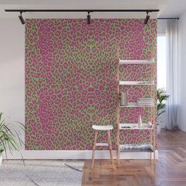 Pink green leopard print, pink cheetah print, animal print, punk rock, psychobilly, 70s Wall Mural
