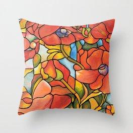 Red Poppy Lamp Throw Pillow