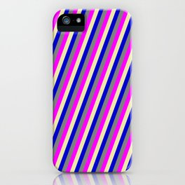 Pale Goldenrod, Blue, Grey, and Fuchsia Colored Stripes Pattern iPhone Case