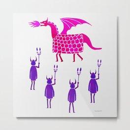Correfoc dragon and devils * magenta & purple palette Metal Print