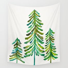Pine Trees – Green Palette Wall Tapestry