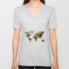 Gold world map Unisex V-Neck