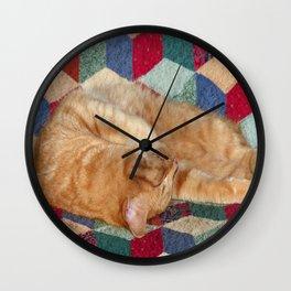 Cat Napping Wall Clock