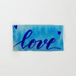 Valentine's Day Watercolor Love - blue Hand & Bath Towel