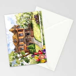 Victorian Mansion in the Spring Stationery Cards