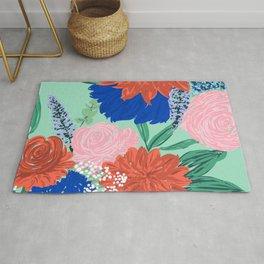 Stylish Flowers Bouquet Hand Paint Mint Design Rug