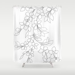 Minimal Wild Roses Line Art Shower Curtain
