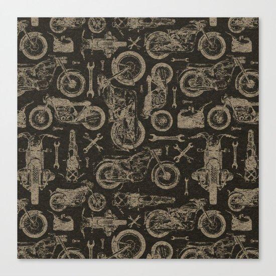 Dark Vintage Motorcycle Pattern Canvas Print