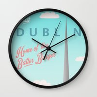 dublin Wall Clocks featuring Visit Dublin by Ah Jaysus