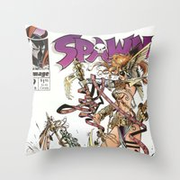 spawn Throw Pillows featuring Spawn 9 cover by Mr D's Abstract Adventures