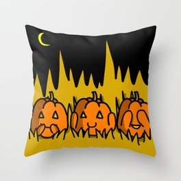Halloween Pumpkins Speak No Evil, Hear No Evil, See No Evil | Veronica Nagorny Throw Pillow