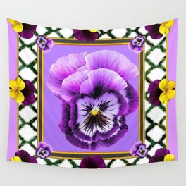 SPRING PURPLE & YELLOW PANSIES  GARDEN Wall Tapestry