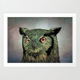 Owl - Red Eyes Art Print