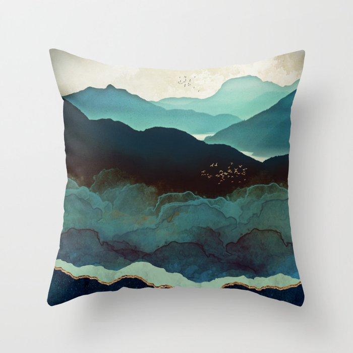 Indigo Mountains Throw Pillow By Spacefrogdesigns Society6