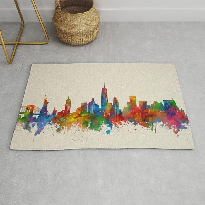 new york skyline watercolor 2 Rug