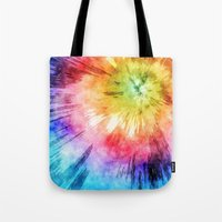 tie dye Tote Bags featuring Tie Dye Watercolor by Phil Perkins