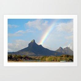 Rainbow on volcanic peak Art Print