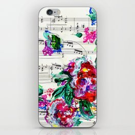 Musical Beauty - Floral Abstract - Piano Notes iPhone Skin