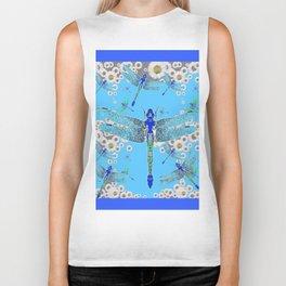 BLUE DRAGONFLIES LILAC WHITE DAISY FLOWERS  ART Biker Tank