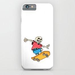 Skeleton as Skateboarder with Skateboard iPhone Case