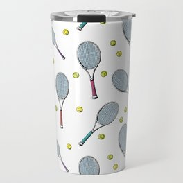 Tennis pattern. Hand-drawn colored sketch style tennis racquet with yellow tennis balls on white bac Travel Mug