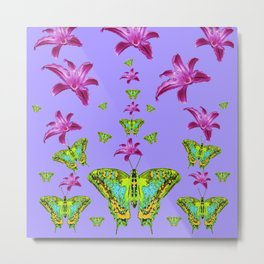 GREEN MOTHS & PURPLE LILIES LILAC COLOR Metal Print