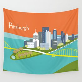 Pittsburgh, Pennsylvania - Skyline Illustration by Loose Petals Wall Tapestry