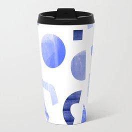 Memphis watercolor blue abstract pattern Travel Mug
