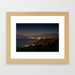 Komos Beach at Night Framed Art Print