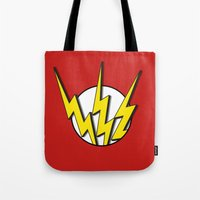 the flash Tote Bags featuring Flash by Msimioni