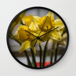 Daffodils in Red Crystal vase from my photography collection Wall Clock