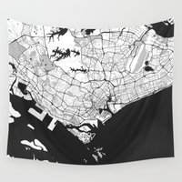 singapore Wall Tapestries featuring Singapore Map Gray by City Art Posters