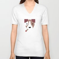 jack russell V-neck T-shirts featuring Pedigree: Jack Russell by Wise Idea