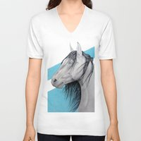 mustang V-neck T-shirts featuring Mustang by Putrizia Pine