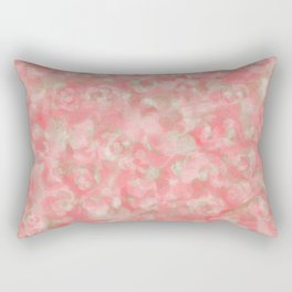 Salmon Blush with Olive Gold Accents Rectangular Pillow