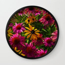 Coneflowers, Floral wall art, colorful flower blooms Wall Clock