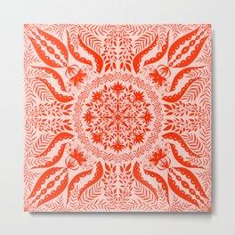 Blood Orange Botanical Folk Tile  Metal Print