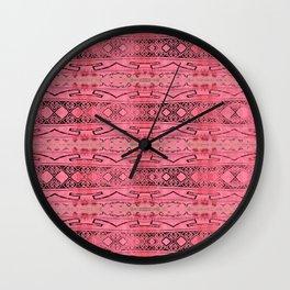 Vintage Tribal Distressed Coral Pink Wall Clock