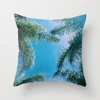 palm trees Throw Pillows featuring PALM TREES by C O R N E L L