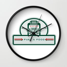 Crossed Fuel Nozzle Gas Pump Retro Wall Clock