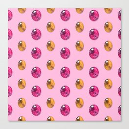 Sherbet Faceted Oval Gemstones Pattern Canvas Print