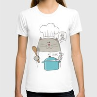 chef T-shirts featuring Chef cat, chef hat, ZWD009S6 by ZeeWillDraw