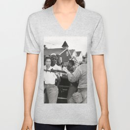 Gloria Richardson pushing a National Guardsman's bayonet, 1963 Unisex V-Neck