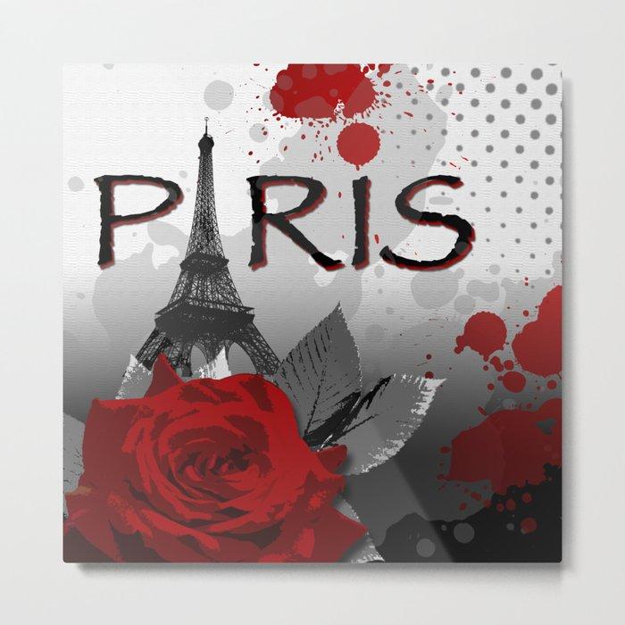 Trash Polka Paris Eiffel Tower Metal Print