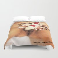 vagina Duvet Covers featuring funny painting Pussy vagina cunt twat lick suck oral sex head ice cream sundae foodie fuck chocolate by Velveteen Rodent