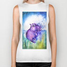 Fiona the Hippo - Splashing around Biker Tank
