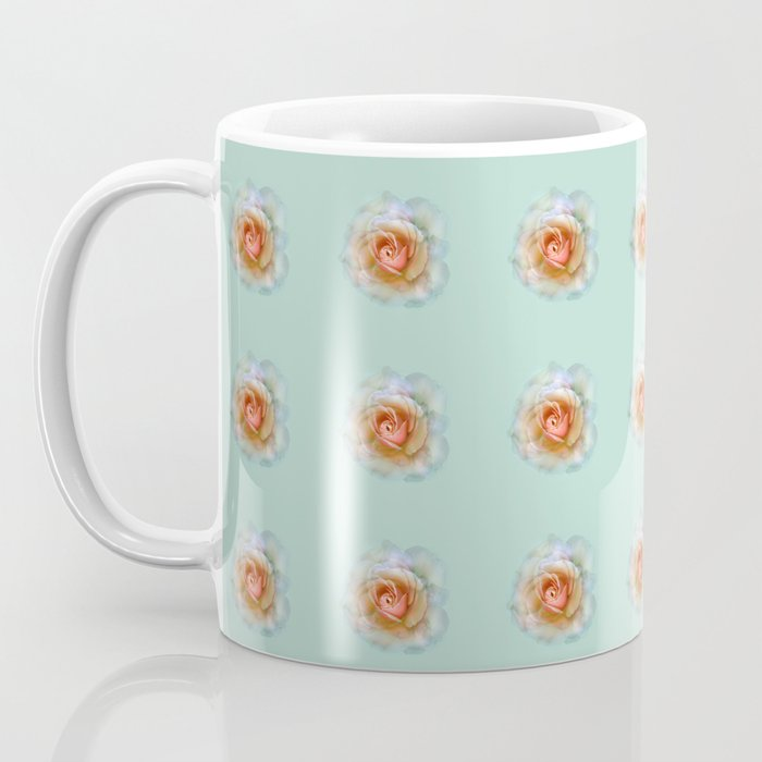 bed of roses: eau de nil wallpaper Coffee Mug