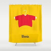 winnie the pooh Shower Curtains featuring Winnie by Jane Mathieu