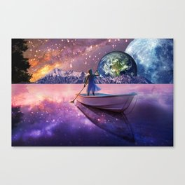 Sailing Away To The New World, From The Darkness To The Light Canvas Print