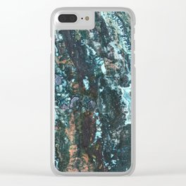 Grungy Marble Stone Clear iPhone Case
